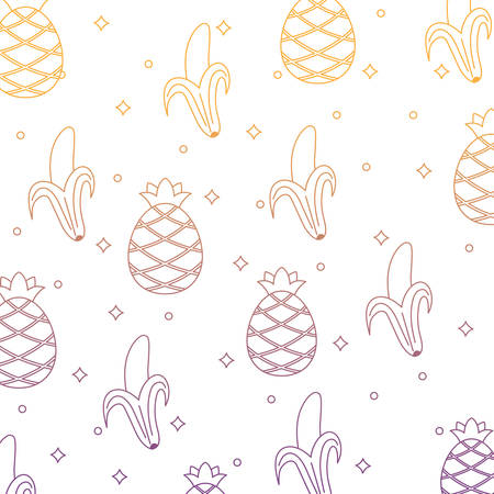background of pineapples and bananas pattern, vector illustration