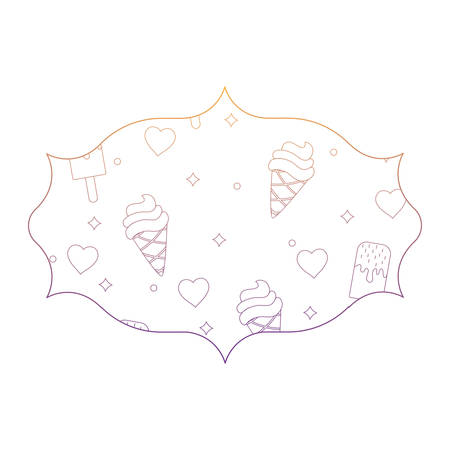 arabic frame with ice cream and hearts pattern over white background, vector illustration Banque d'images - 101274952