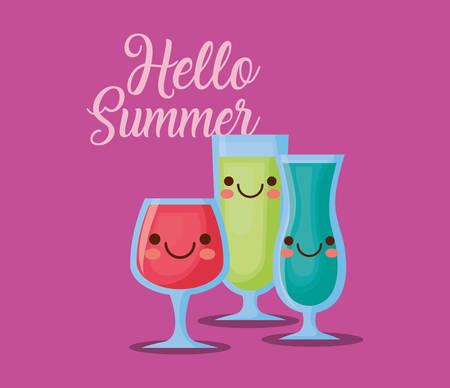hello summer design with cocktails over purple background, colorful design. vector illustration