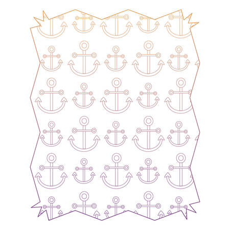 abstract frame with anchors pattern over white background, colorful design. vector illustration