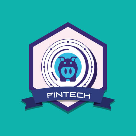 emblem of fintech concept with piggy bank icon over turquoise background, colorful design. vector illustration