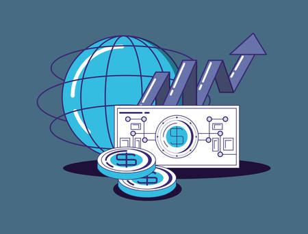 financial technology design with global sphere with money items over blue background, colorful design. vector illustration