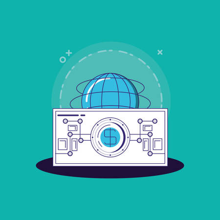 Financial technology design with global sphere and money bill over turquoise background, colorful design. vector illustration