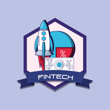 emblem of fintech concept with rocket and pie chart over purple background, colorful design. vector illustration