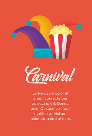 Infographic of carnival concept with jester hat and pop corn over red background, colorful design. vector illustration