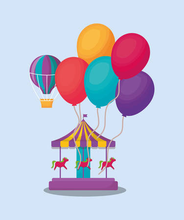 Carousel with colorful balloons over blue background, vector illustration. Illustration