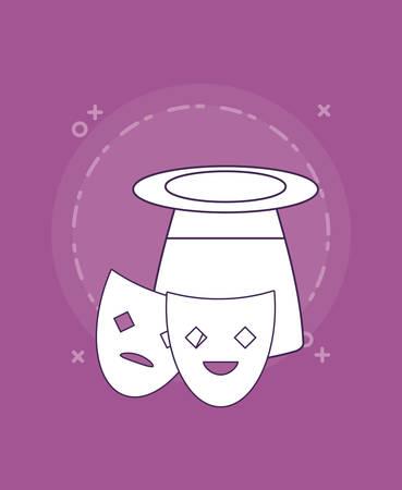 magic hat and theather masks over purple background, colorful line design. vector illustration Illustration