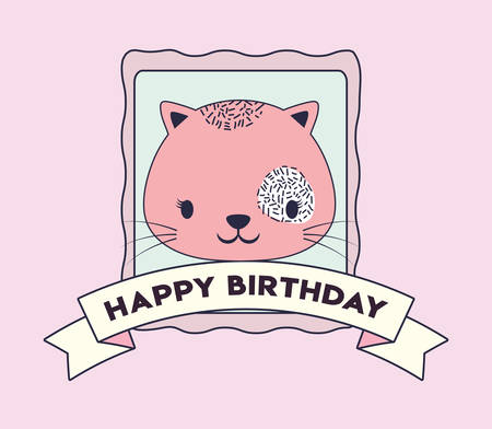 Happy birthday design with cute cat icon and decorative ribbon over pink background, colorful design. vector illustration Ilustração