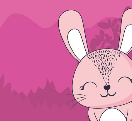 cute rabbit over forest landscape background, colorful design. vector illustration 일러스트