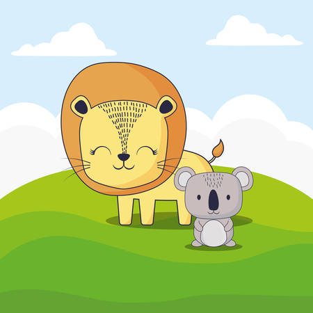 cute lion and koala over landscape background, colorful design. vector illustration