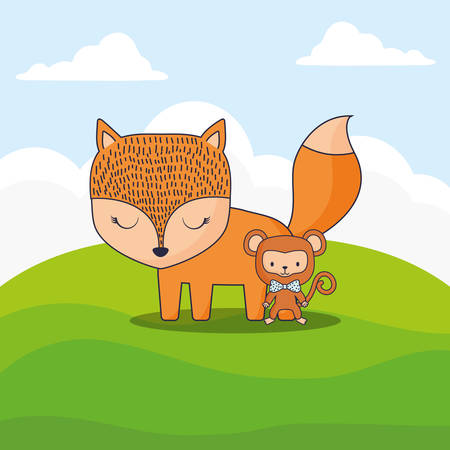 cute fox and monkey over landscape background, colorful design. vector illustration 일러스트