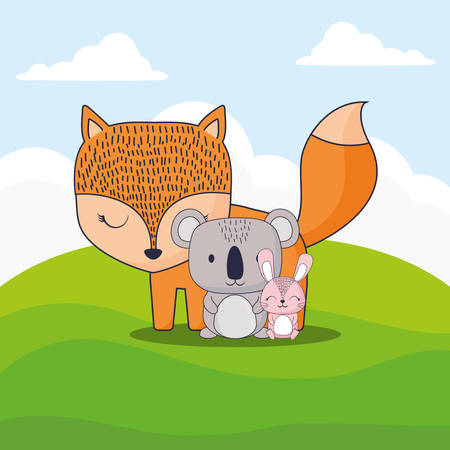 cute fox with koala and rabbit over landscape background, colorful design. vector illustration 일러스트