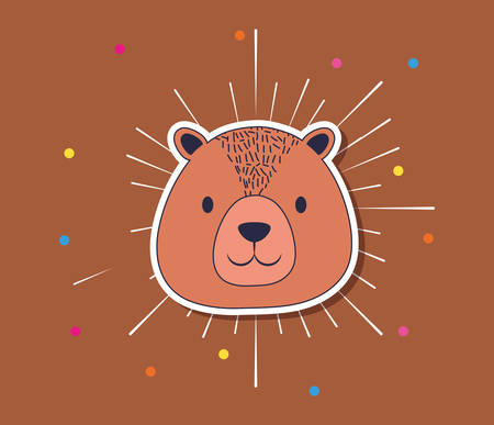 cute bear over brown background, colorful design. vector illustration  イラスト・ベクター素材