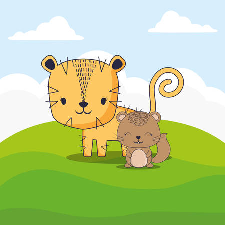 cute tiger and squirrel over landscape background, colorful design. vector illustration 일러스트
