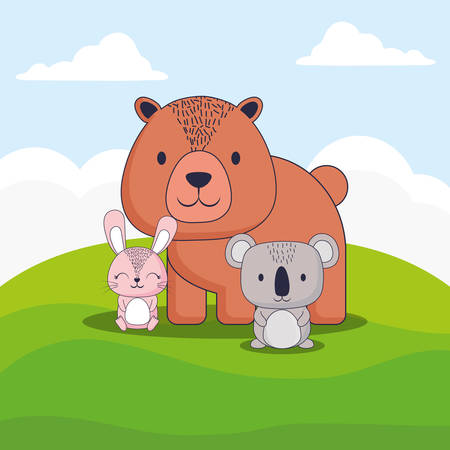 cute bear with rabbit and koala over landscape background, colorful design. vector illustration
