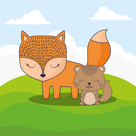 cute fox and squirrel over landscape background, colorful design. vector illustration