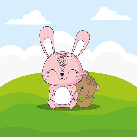 cute rabbit and squirrel over landscape background, colorful design. vector illustration