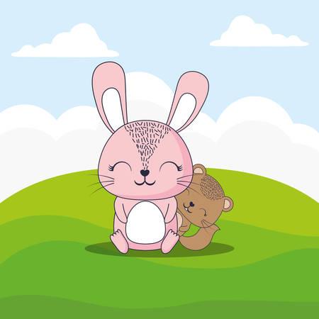 cute rabbit and squirrel over landscape background, colorful design. vector illustration