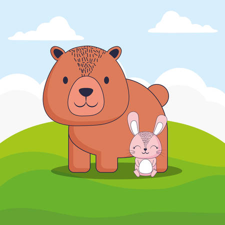 cute bear and rabbit over landscape background, colorful design. vector illustration 일러스트