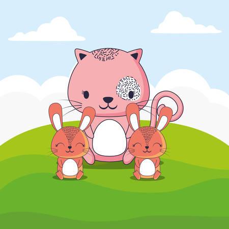 cute cat and rabbits over landscape background, colorful design. vector illustration Illustration