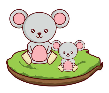 cute mouses on the grass  over white background, colorful design. vector illustration 向量圖像