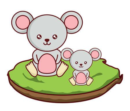 cute mouses on the grass  over white background, colorful design. vector illustration Ilustração
