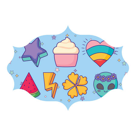 arabic frame with cupcakes and watermelon pattern over white background, vector illustration