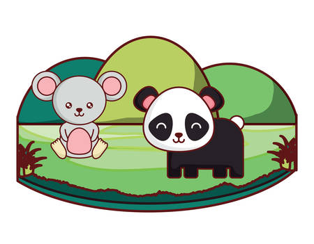 cute panda bear and mouse on the grass over white background, colorful design. vector illustration Ilustração