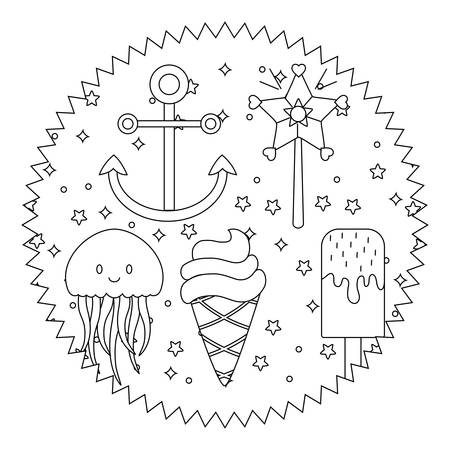 seal stamp with anchors and ice creams pattern over white background, vector illustration