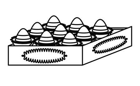 box of chocolate truffles icon over white background, vector illustration Ilustração