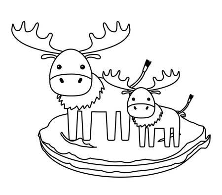 cute elks on the grass over white background, vector illustration Illustration