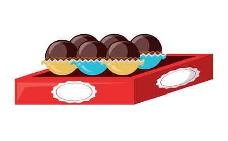 box of chocolate truffles icon over white background, colorful design. vector illustration