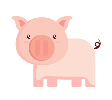 cute pig icon over white background, colorful design. vector illustration Ilustração