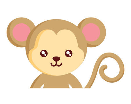 cute monkey icon over white background, colorful design. vector illustration Ilustração