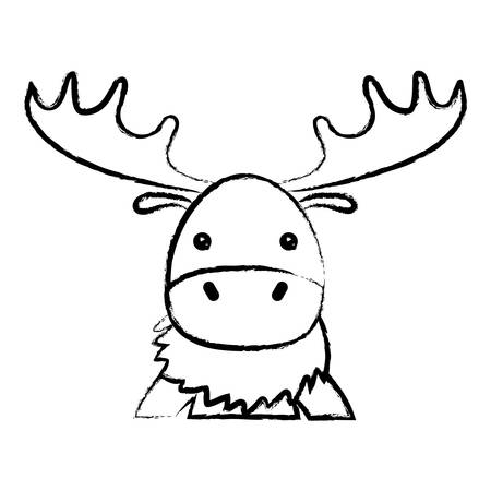 sketch of cute elk icon over white background, colorful design. vector illustration