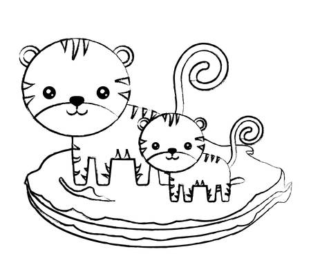 cute tigers on the grass over white background. vector illustration