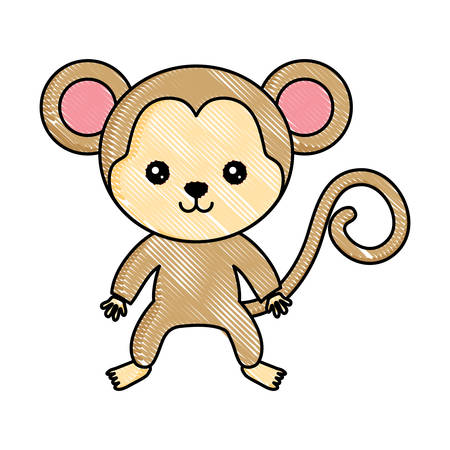 cute monkey icon over white background, colorful design. vector illustration 向量圖像