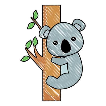 cute koala on tree branch over white background, vector illustration