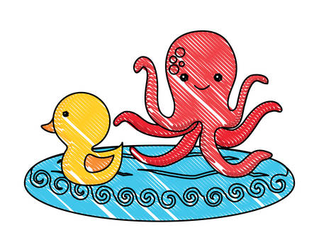 cute duck and octopus  over white background, colorful design. vector illustration