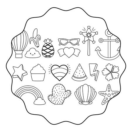 circular frame with cactus and cute related icons pattern over white background, vector illustration