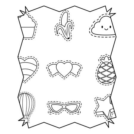with fruits and heart pattern over white background, vector illustration Stock Illustratie