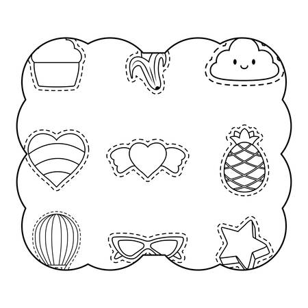 decorative frame with fruits and heart pattern over white background, vector illustration