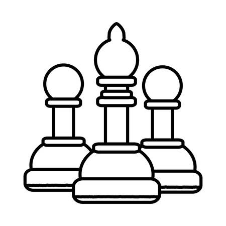 bishop and pawns over white background, vector illustration Ilustração