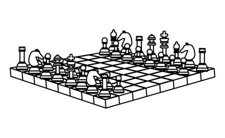 Chessboard with pieces over white background, vector illustration