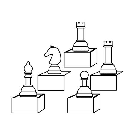 chess pieces design over white background, vector illustration