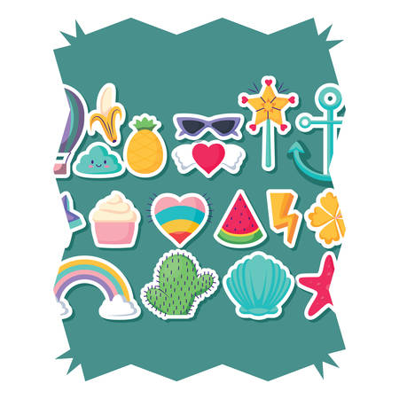 cactus and cute related icons pattern over white background, vector illustration