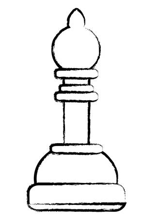 bishop chess piece over white background. vector illustration