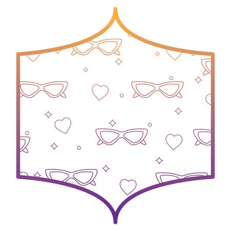 decorative frame with sunglasses and hearts pattern over white background, vector illustration Banco de Imagens - 101408911