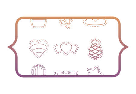 banner with hearts and fruits pattern over white background, vector illustration