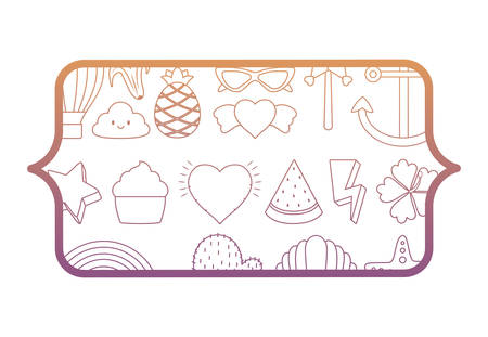 banner with cactus and cute related icons pattern over white background, vector illustration